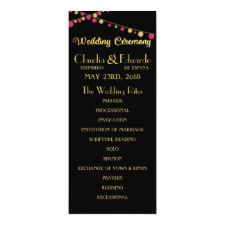 Festive Lights – Dark / Rose Pink + Gold 10 Cm X 24 Cm Invitation Card