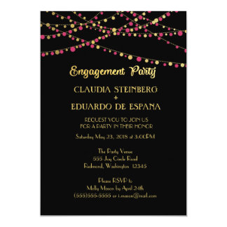 Festive Lights – Dark / Rose Pink + Gold 13 Cm X 18 Cm Invitation Card