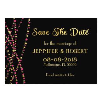 Festive Lights – Dark / Rose Pink + Gold 13 Cm X 18 Cm Invitation Card