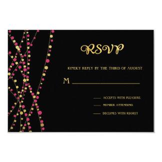 Festive Lights – Dark / Rose Pink + Gold 9 Cm X 13 Cm Invitation Card