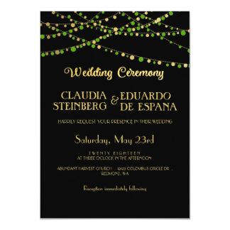 Festive Lights – Spring Green + Gold 11 Cm X 16 Cm Invitation Card