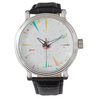 Festive men's watch with colorful confetti designs