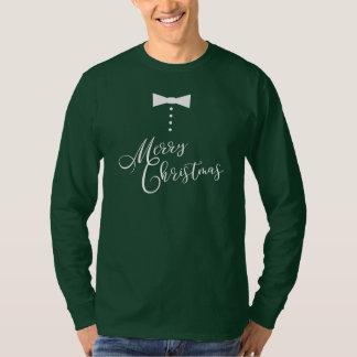 Festive Merry Christmas Bow Tie Tuxedo Style T-Shirt