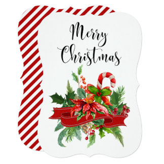 Festive Merry Christmas Calligraphy and Poinsettia Card