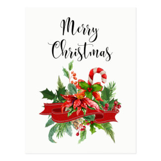 Festive Merry Christmas Calligraphy | Candy Cane Postcard