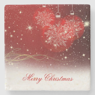 "Festive ""Merry Christmas"" snowflakes ornaments Stone Beverage Coaster"