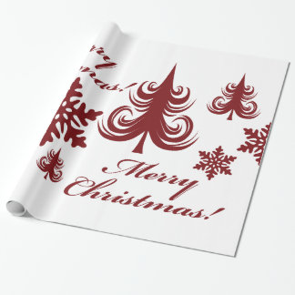 Festive Merry Christmas Tree Snowflakes Gift Wrap