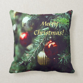Festive Merry Christmas Tree with Red Ornaments Cushion