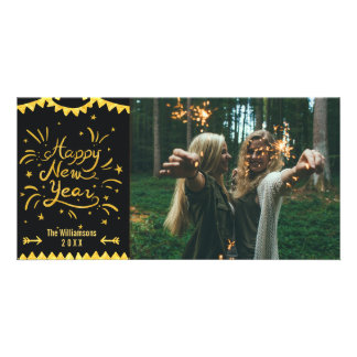 Festive Modern Happy New Year Black & Gold Photo Card