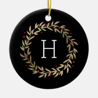 Festive Monogram Editable Colour Custom Ornament