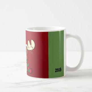 Festive mug 2018 with cute reindeer (rudolf)