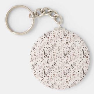 Festive Musical Notes, Bars, & Symbols Basic Round Button Key Ring
