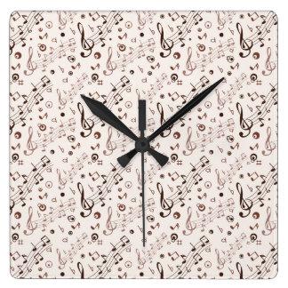 Festive Musical Notes, Bars, & Symbols Square Wall Clock