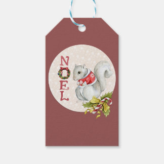 Festive Noel Squirrel Gift Tags