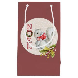 Festive Noel Squirrel Small Gift Bag