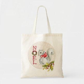 Festive Noel Squirrel Tote Bag