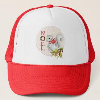 Festive Noel Squirrel Trucker Hat