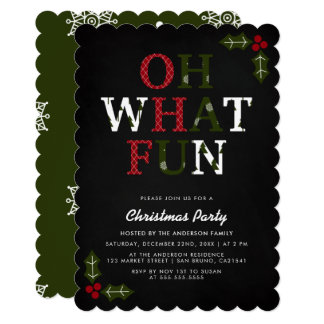 Festive OH WHAT FUN | Snowflakes Christmas Party Card