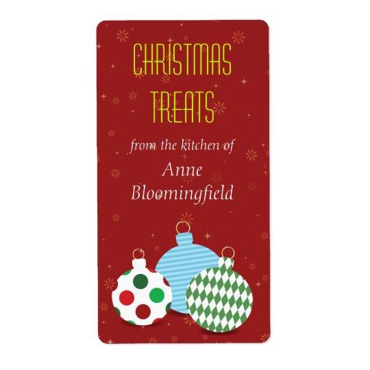 Festive Ornaments Christmas Baking Label Shipping Label