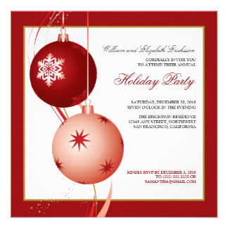 Festive Ornaments Holiday Party Invitation red