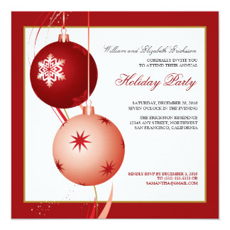 "Festive Ornaments Holiday Party Invitation (red) 5.25"" Square Invitation Card"