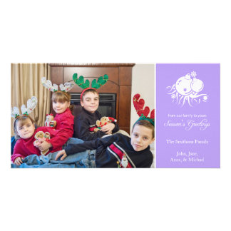 Festive Ornaments (Season's Greetings Violet) Personalised Photo Card
