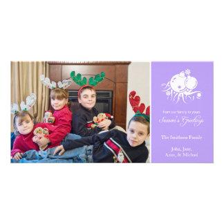 Festive Ornaments (Season's Greetings Violet) Personalised Photo Card