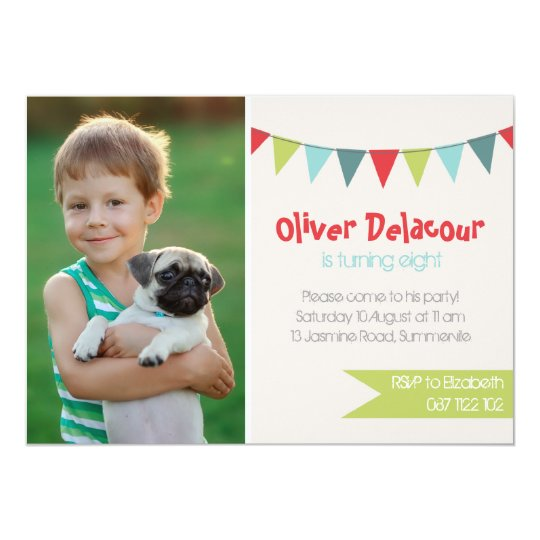 Festive Party Banner Photo Birthday Invitations