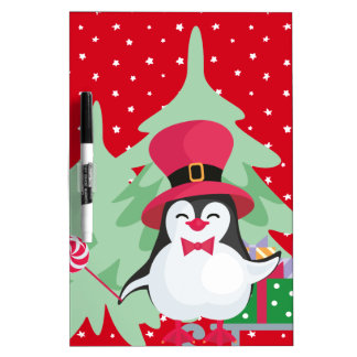Festive Penguin with Sleigh Dry Erase Board