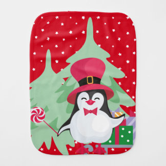 Festive Penguin with Sleigh - Red Burp Cloth
