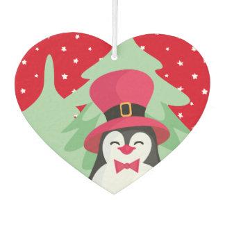 Festive Penguin with Sleigh - Red Car Air Freshener
