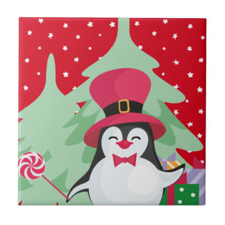 Festive Penguin with Sleigh - Red Ceramic Tile