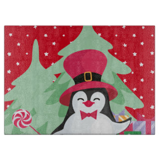 Festive Penguin with Sleigh - Red Cutting Board