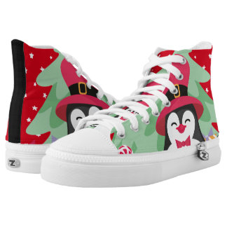 Festive Penguin with Sleigh - Red High Tops