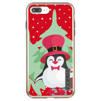 Festive Penguin with Sleigh - Red Incipio DualPro Shine iPhone 8 Plus/7 Plus Case
