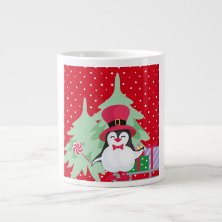 Festive Penguin with Sleigh - Red Large Coffee Mug