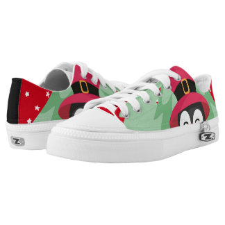 Festive Penguin with Sleigh - Red Low Tops
