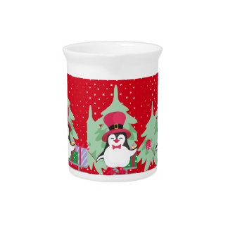Festive Penguin with Sleigh - Red Pitcher