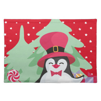 Festive Penguin with Sleigh - Red Placemat