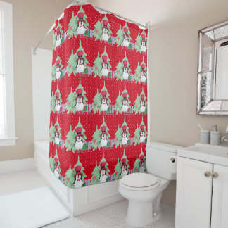 Festive Penguin with Sleigh - Red Shower Curtain