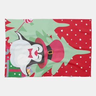 Festive Penguin with Sleigh - Red Tea Towel
