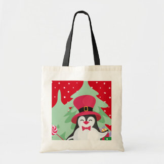 Festive Penguin with Sleigh - Red Tote Bag