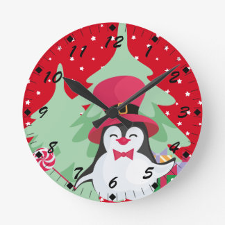 Festive Penguin with Sleigh Round Clock