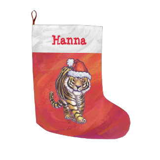 Festive Personalized Tiger Christmas Large Christmas Stocking