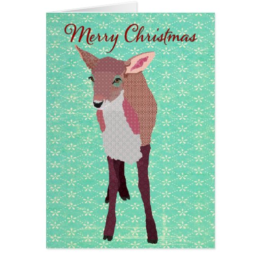 Festive Pink Fawn Turqoise Christmas Card