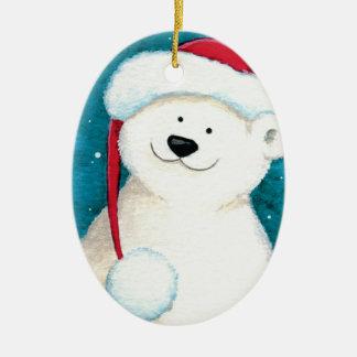 Festive Polar Bear in a Santa Hat Ceramic Ornament