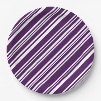 Festive Purple and White Stripes Paper Plates