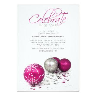 Festive Purple Baubles Celebrate the Season Card