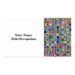 Festive Rainbow Textured Mosaic Tiles Pattern Business Card Template