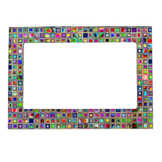 Festive Rainbow Textured Mosaic Tiles Pattern Frame Magnets
